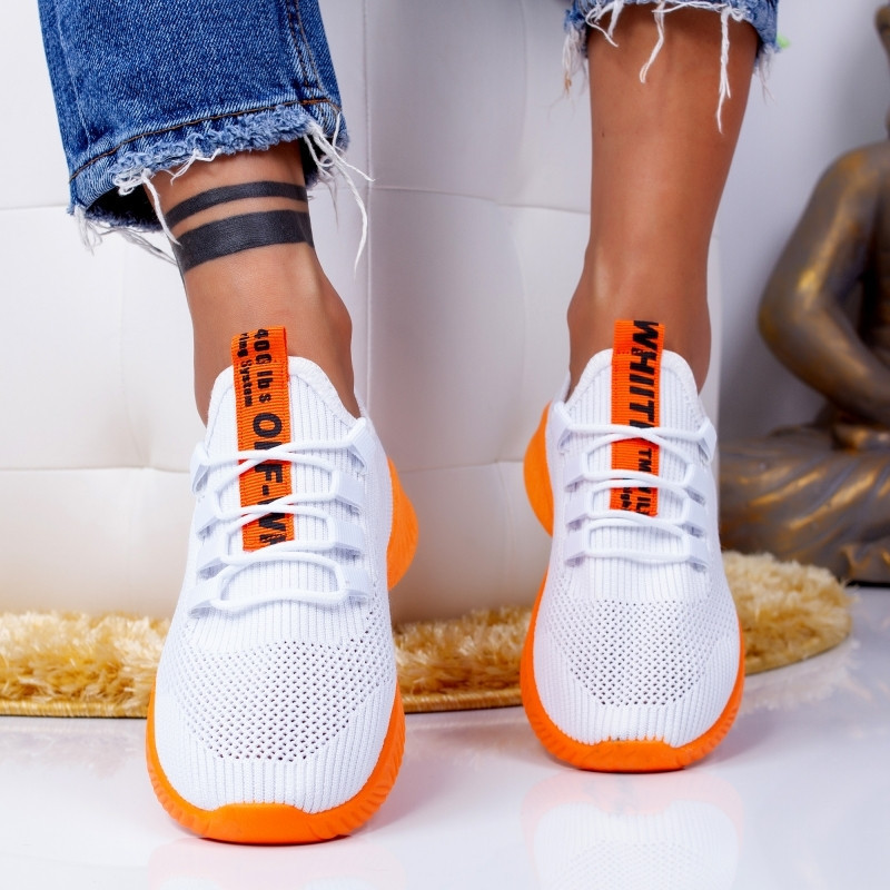 "Pantofi Sport ""MireaFashion"" Cod: ZA-8 WHITE/ORANGE (Q4)"