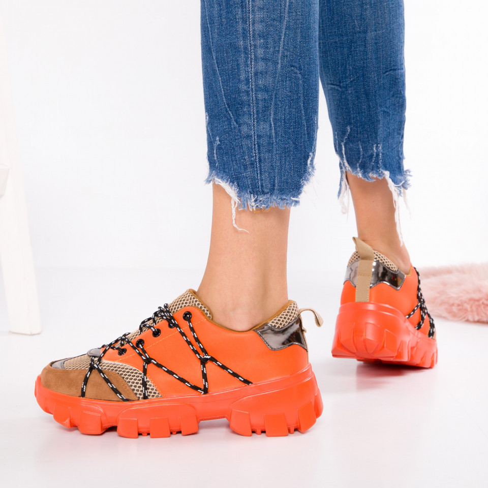 "Pantofi Sport ""MireaFashion"" Cod: 2019-365 ORANGE (Q7)"