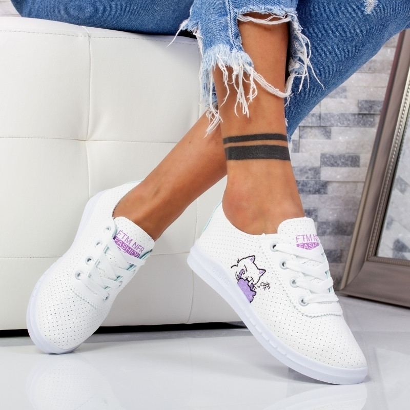 "Pantofi Sport ""MireaFashion"" Cod: F-2 WHITE/VIOLET (AA32)"