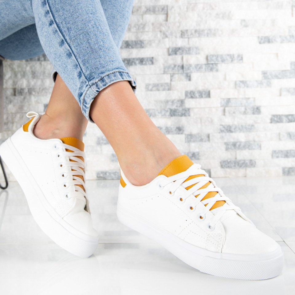 "Pantofi Sport ""MireaFashion"" Cod: H2205 WHITE/YELLOW (O4)"
