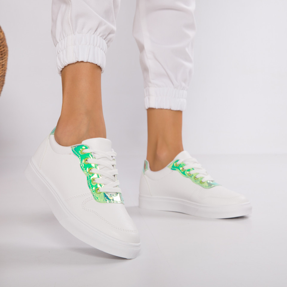 "Pantofi Sport ""MireaFashion"" Cod: HQ-F21 WHITE/GREEN (J4)"