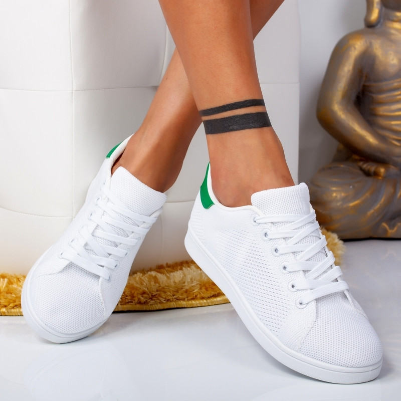 "Pantofi Sport ""MireaFashion"" Cod: HR61258 WHITE/GREEN (F14)"