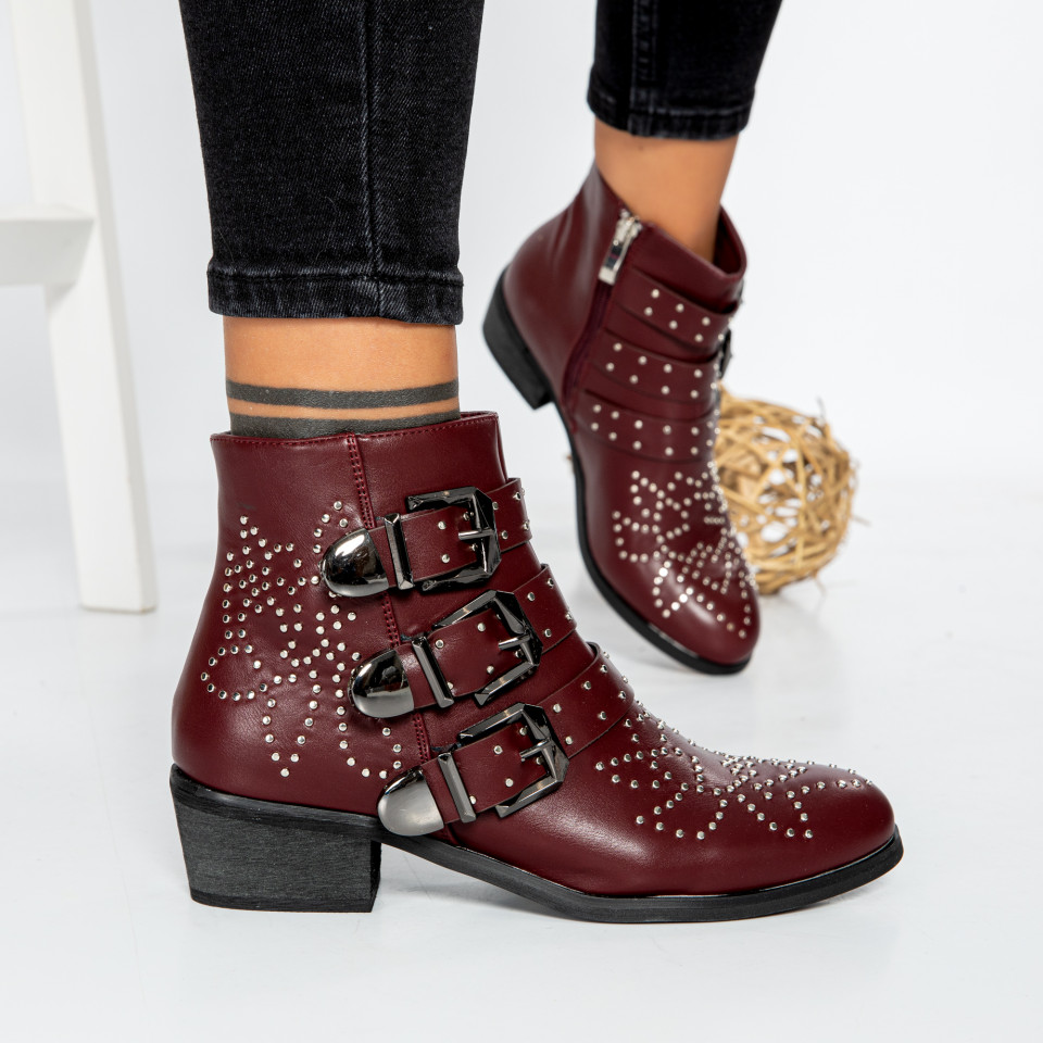 "Botine ""MireaFashion"" cod: F1208 BORDEAUX (Q3)"