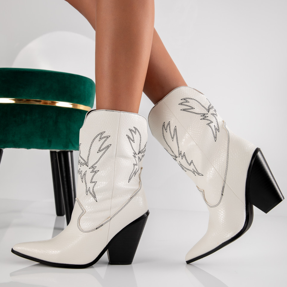 "Botine ""MireaFashion"" Cod: JRX1916 WHITE (S6)"
