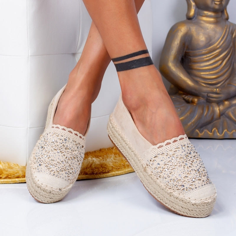 "Espadrile ""MireaFashion"" Cod: 00680 BEIGE (F8)"