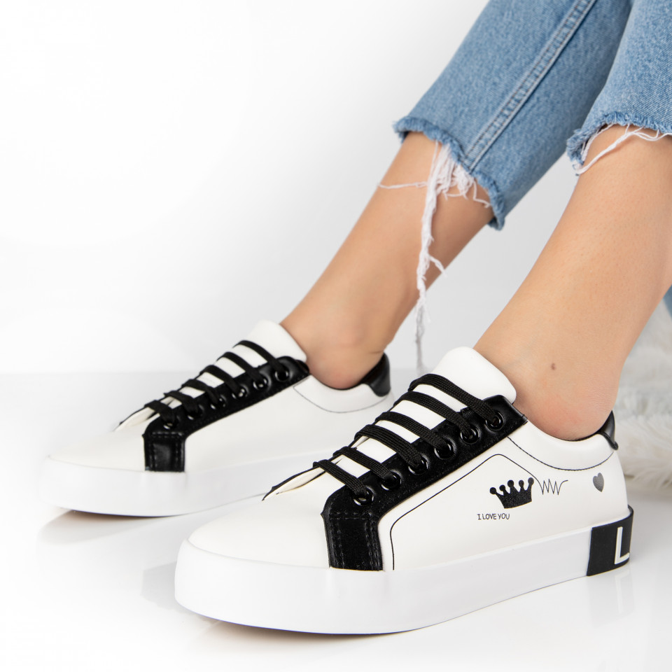 "Pantofi Sport ""MireaFashion"" Cod: 18-27 WHITE/BLACK (M14)"