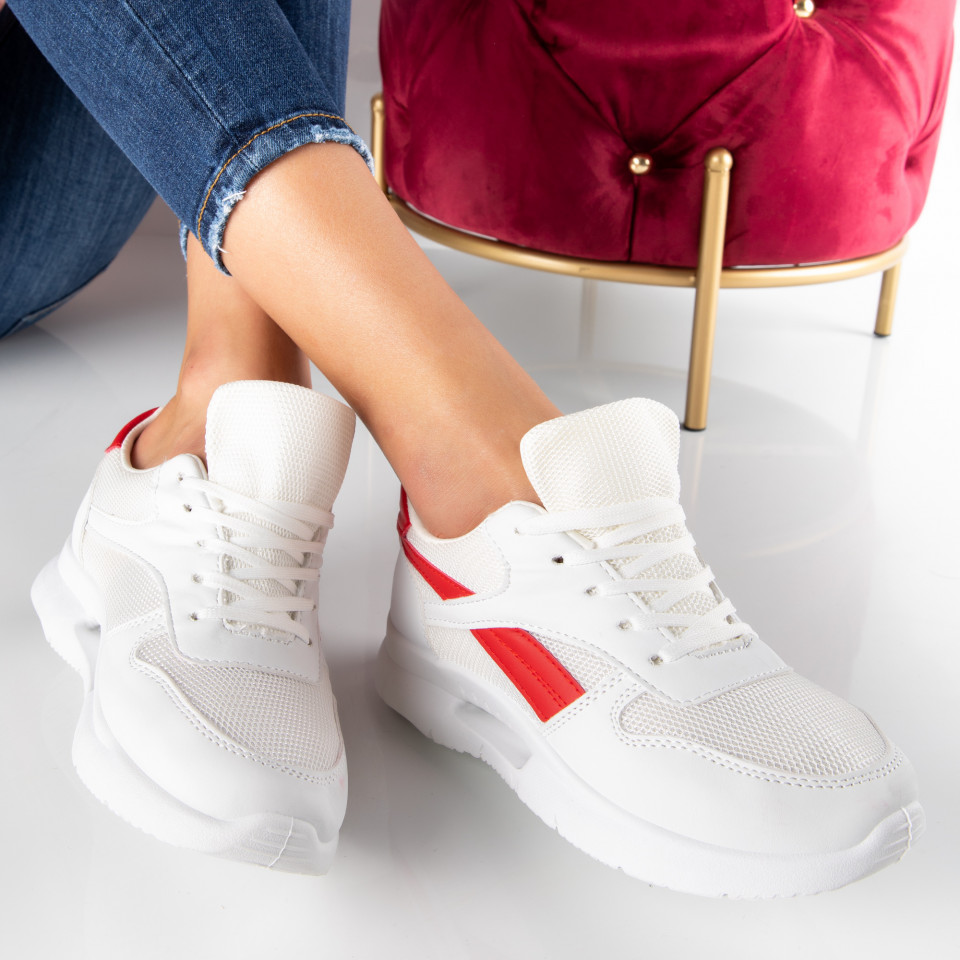 "Pantofi Sport ""MireaFashion"" Cod: B05 WHITE/RED (S16)"