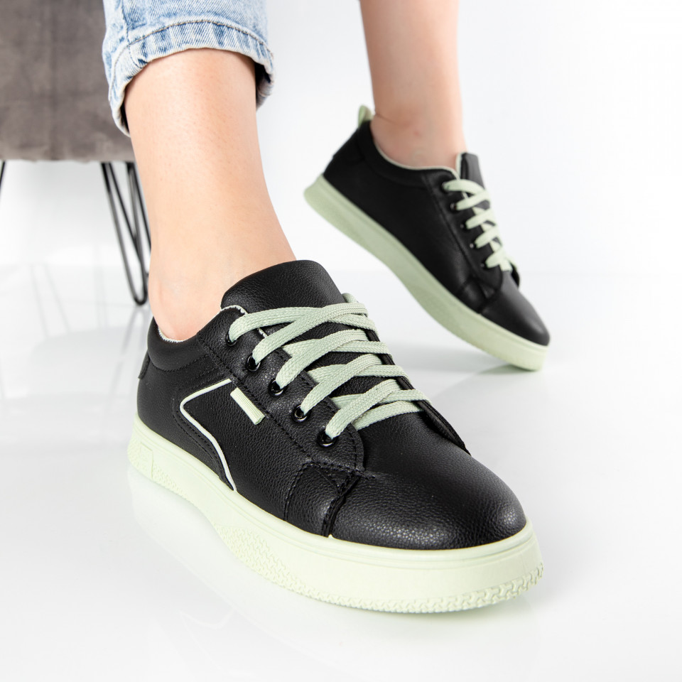 "Pantofi sport""MireaFashion"" Cod: HQ-008-40 BLACK/L.GREEN (i6)"