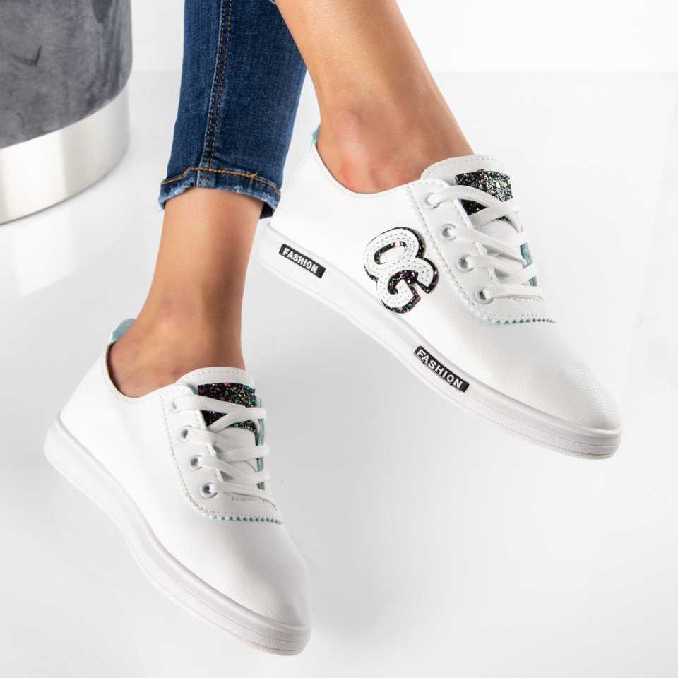 "Pantofi Sport ""MireaFashion"" Cod: HQ-21 WHITE/BLACK (i8)"