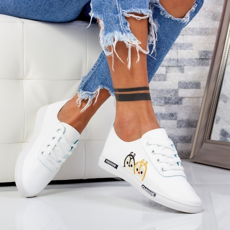"Pantofi Sport ""MireaFashion"" Cod: HQ-22 WHITE/BLACK (A28)"