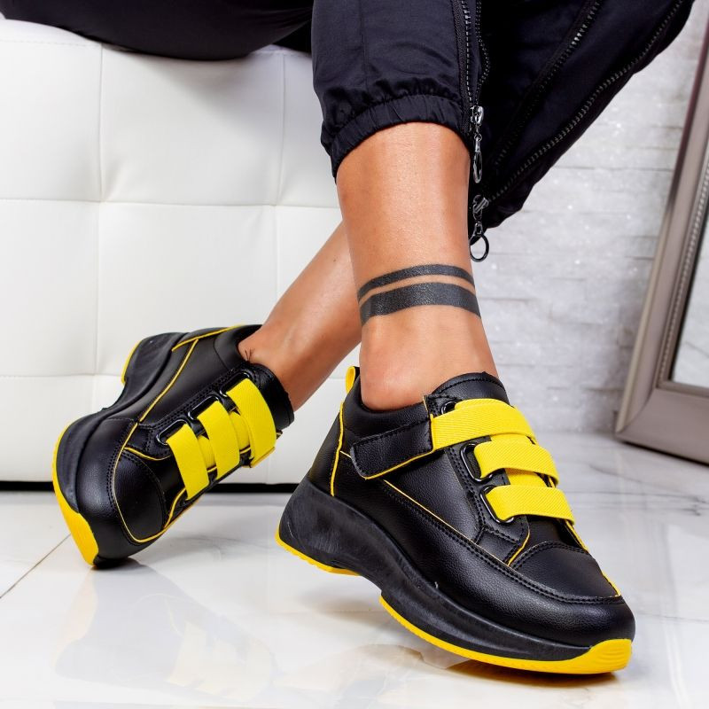 "Pantofi Sport ""MireaFashion"" Cod: XC7 BLACK/YELLOW (F6)"