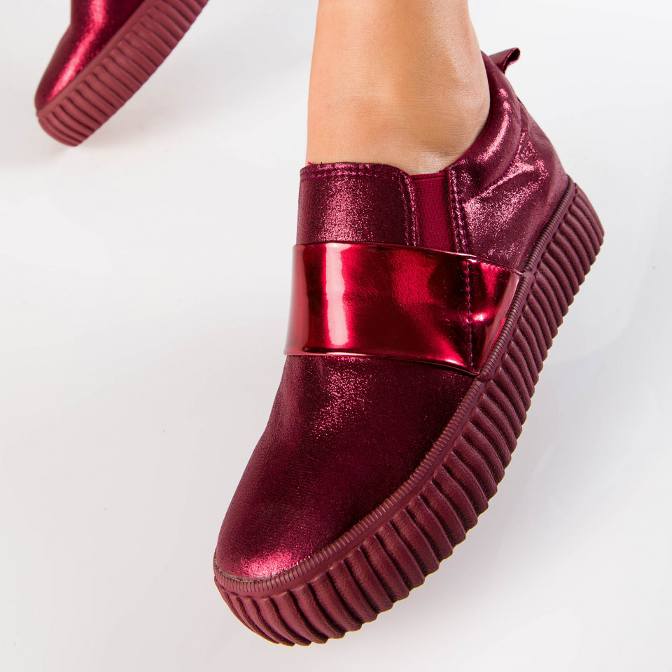 "Espadrile ""MireaFashion"" Cod: BBK53 Wine Red (E14)"