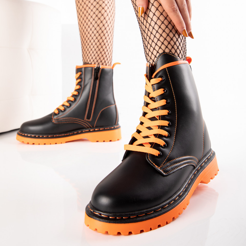 "Ghete ""MireaFashion"" Cod: J2002-3 BLACK/ORANGE (N1)"