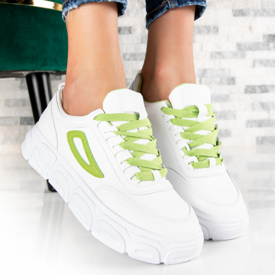"Pantofi Sport ""MireaFashion"" Cod: 139 WHITE/GREEN (M14)"