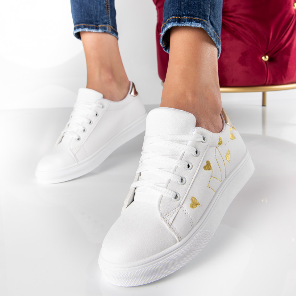 "Pantofi Sport ""MireaFashion"" Cod: 908 WHITE/GOLDEN (F2)"