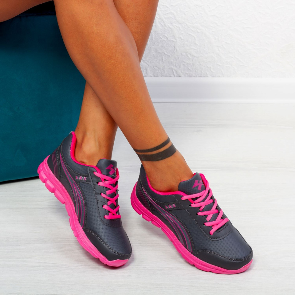 "Pantofi Sport ""MireaFashion"" Cod: B701 GREY/FUCHSIA (E10)"