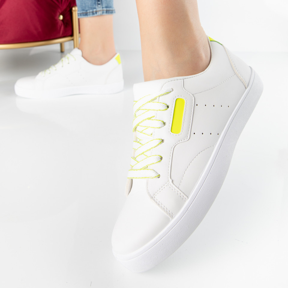 "Pantofi Sport ""MireaFashion"" Cod: BO-250 WHITE/YELLOW (L1)"