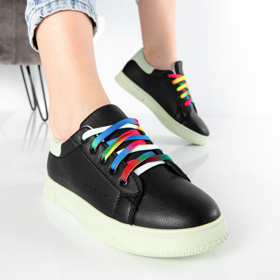 "Pantofi Sport ""MireaFashion"" Cod: HQ-005-18 BLACK/L.GREEN (J3)"
