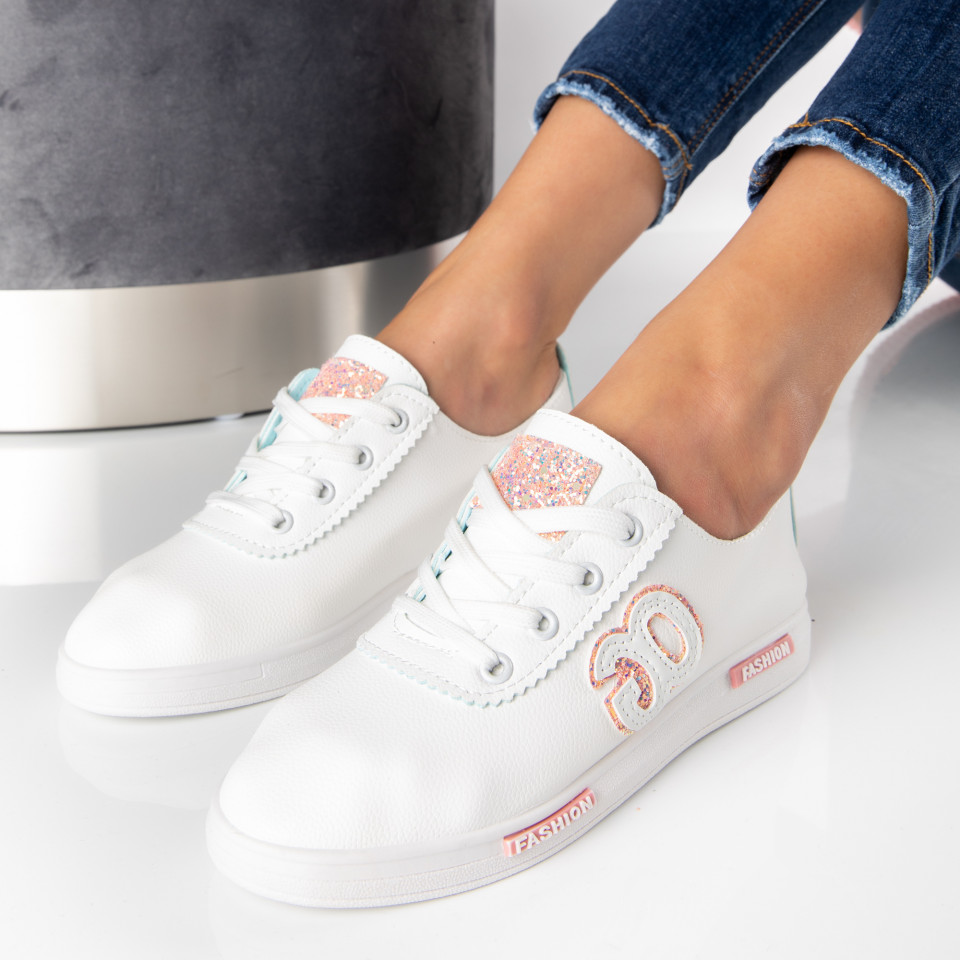 "Pantofi Sport ""MireaFashion"" Cod: HQ-21 WHITE/PINK (J8)"