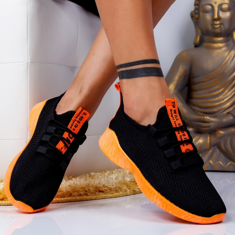 "Pantofi Sport ""MireaFashion"" Cod: ZA-6 BLACK/ORANGE (R7)"