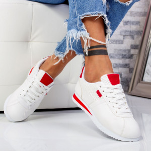 "Pantofi Sport ""MireaFashion"" Cod: 522-9 WHITE/RED (C9)"