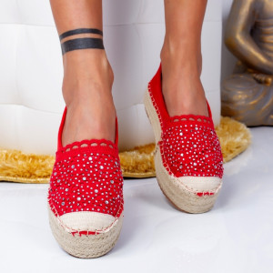 "Espadrile ""MireaFashion"" Cod: 00680 RED (C4)"