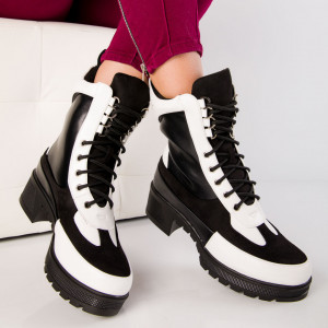 "Ghete ""MireaFashion"" Cod: K169 BLACK/WHITE (N13)"