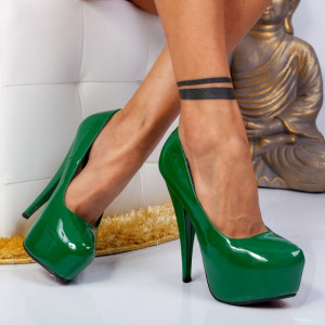 "Pantofi ""MireaFashion"" Cod: JN-5140-1FA GREEN (LL4-5)"