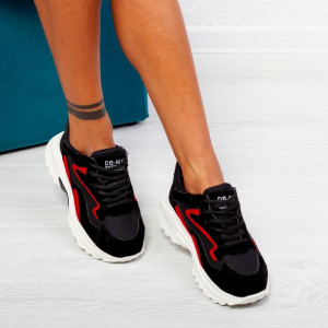 "Pantofi Sport ""MireaFashion"" Cod: F810-1 BLACK/RED (K13)"
