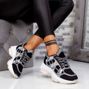 "Pantofi Sport ""MireaFashion"" Cod: LY049 BLACK/SNAKE (M1)"