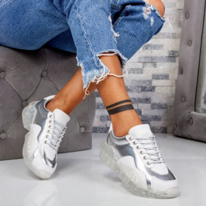 "Pantofi Sport ""MireaFashion"" Cod: X611 WHITE/SILVER (F4)"