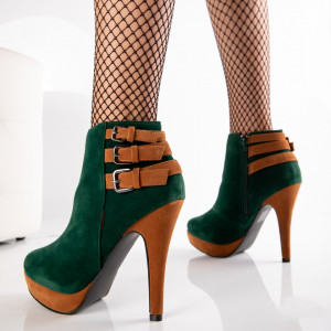 "Botine ""MireaFashion"" Cod: C2513-7 Green Pu+Camel Pu (H16)"