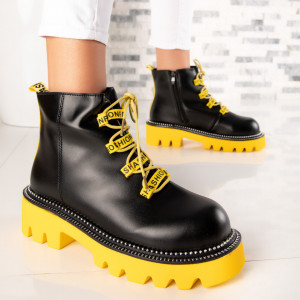 "Ghete ""MireaFashion"" Cod: WLAG2 BLACK/YELLOW (C9)"