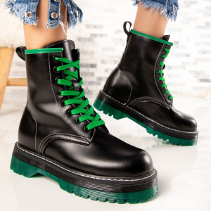 "Ghete ""MireaFashion"" Cod: NX120 BLACK/GREEN (N10)"