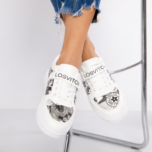 "Pantofi Sport ""MireaFashion"" Cod: B52 WHITE/BLACK (QQ1)"