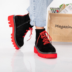 "Ghete ""MireaFashion"" cod: WLAG3 BLACK/RED (R6)"