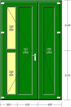 Portoncino PVC Rehau, 2 ante, modello ROMA, pellicolato 77 colori a scelta, 1300 x 2100, completa, pronta per montaggio, 2 ANTE