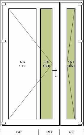 Portoncino PVC Rehau, 2 ante, modello ROMA, colore bianco 1400 x 2100, completa, pronta per montaggio, 2 ANTE