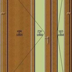 Portoncino PVC Rehau, 2 ante, modello ROMA, colore quercia dorata o noce, 1400 x 2100, completa, pronta per montaggio, 2 ANTE