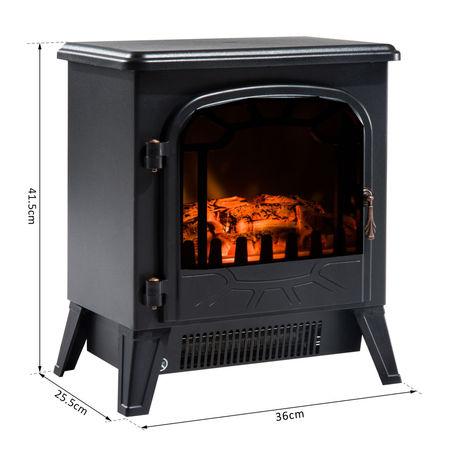 HomCom® Lareira Eléctrica com Termóstato Bilho 900W/1800W 36x25.5x41.5cm Aço