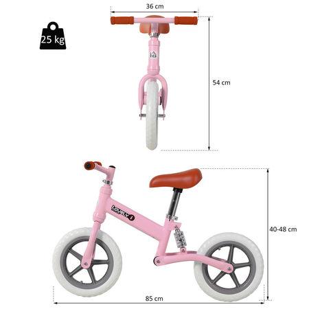 HOMCOM Bicicleta sem pedais para crianças acima de 2 anos para treinar equilíbrio 85x36x54 cm (CxLxA) rosa