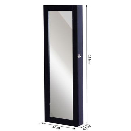HOMCOM Espelho, Guarda-Joias de Parede ou de Pé Armário para Joias Guarda-Joias 37x9,5x112 cm MDF Preto