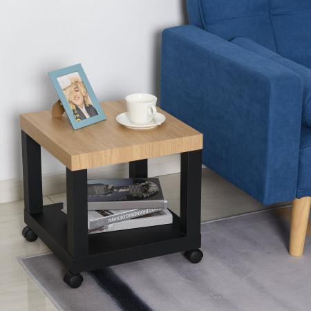 HOMCOM Mesa de apoio para sofá com prateleira aberta Rodas Freios 40x40x40 Preto e Natural