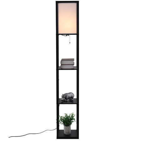 HOMCOM Prateleiras Lbrería Alta de 3 Níveis com Lâmpada para Sala de estar Quarto Prateleiras Modernas para Sala de Exposição Branco e Preto 26x26x160 cm