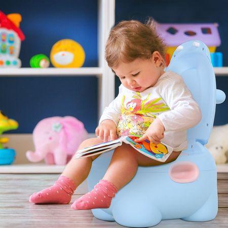 HOMCOM Sanita infantil para bebês Mictório removível em forma de hipopótamo com alças 40x30x23cm Carga 25kg Azul