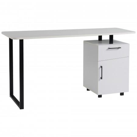 HOMCOM Secretária para escritório com gaveta e armário com prateleira ajustável 150x60x76 cm Branco