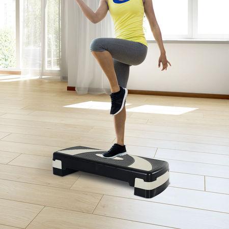 HOMCOM Step Fitness Preto e cinzento Plástico 80x31x10/15/20cm