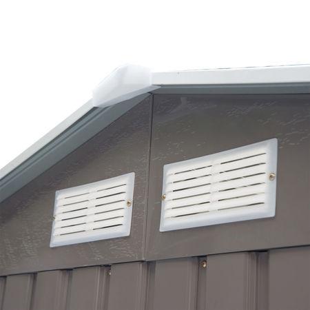 Outsunny Abrigo - Barracão de Jardim Armário Exterior de Metal para Guardar Ferramentas Base Incluída, 4 Janelas 213x127x185cm Aço