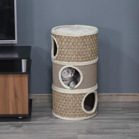 PawHut Barril de arranhar para gatos com 3 níveis com plataforma cama confortável e espigões de 37,5x37,5x70 cm Marrom claro e bege