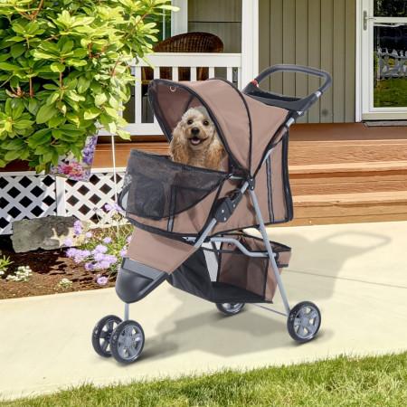 Carrito Dobrável Animais de Estimação para Cão e Gato Carrito Rodas 360º - Cor Castanho Café - 75x45x97 cm